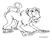 Baboon Coloring Page 2