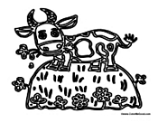Cow Eating Flowers