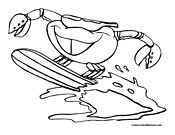 Crab Surfing Coloring Page 3