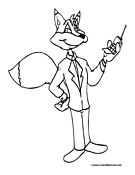 Fox Cell Phone Coloring Page