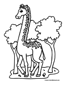 Giraffe Coloring Page 1
