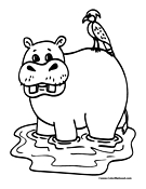 Hippo Coloring Page 1