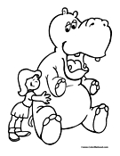 Hippo Coloring Page 2