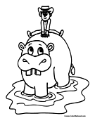 Hippo Coloring Page 3