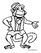 Monkey Coloring Page 7