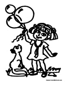 Girl with Balloons and Squirrel