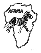 Map of Africa with Zebra