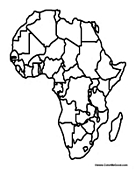 Maps of africa coloring pages african maps for Map of africa coloring page