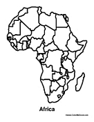 Printable african masks for children trials ireland for Map of africa coloring page