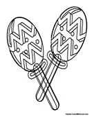 Mexican Fiesta Maracas Coloring Page - Clip Art, Border Pages