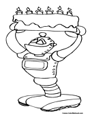 Robot Birthday Coloring Page