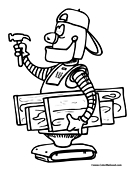 Robot Worker Coloring Page