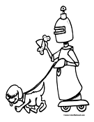 Robot Dog Walker Coloring