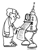 Robot Printer Coloring Page