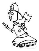 Robot Fire Fighter Coloring Page