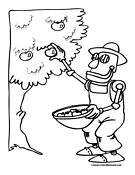 Robot Farmer Coloring Page