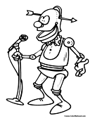 Robot Singer Coloring Page