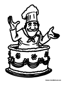 Chef Coming Out of Cake