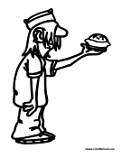 Boy Serving Hamburger