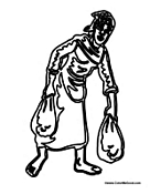 African Slave Carrying Bags