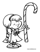 Candy Cane Coloring Page 1