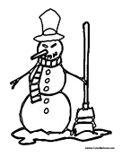 Snowman with Broom in Snow