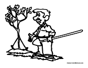 Man Planting A Tree Coloring