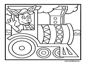 Easter Bunny Train Coloring