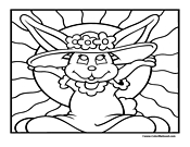 Girl Easter Bunny Coloring