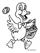 Easter Duck Coloring Page 2