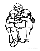 Dad with his Kids Hugging