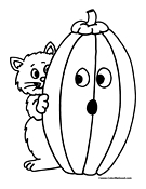 Halloween Cat Coloring Page 2