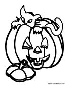 inside of a pumpkin coloring pages | Halloween Cat Coloring Pages