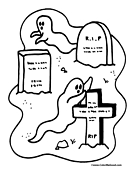 halloween graveyard coloring pages - photo#23