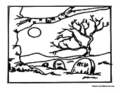 halloween graveyard coloring pages - photo#19