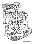 Skeleton Coloring Page 2