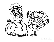 Thanksgiving Turkey and Girl
