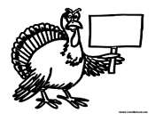 Turkey Holding a Blank Sign