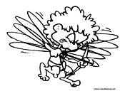 Cupid Flying Coloring Page