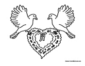 Two Doves with Heart Wreath