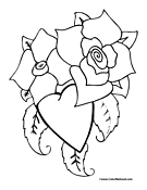 Heart and Flowers Coloring