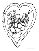 Heart with Flowers for V-Day