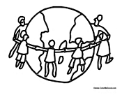 holding hands around world children holding hands coloring pages