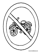 No Motorcycles Sign Coloring Page