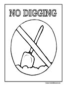 No Digging Sign Coloring Page