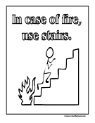 In Case Of Fire, Use Stairs Sign Coloring Page