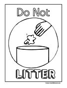 Do Not Litter Sign Coloring Page