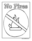No Fires Sign Coloring Page