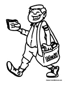 Postal worker coloring pages for Mailman coloring pages