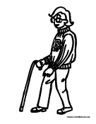Man Walking with a Cane